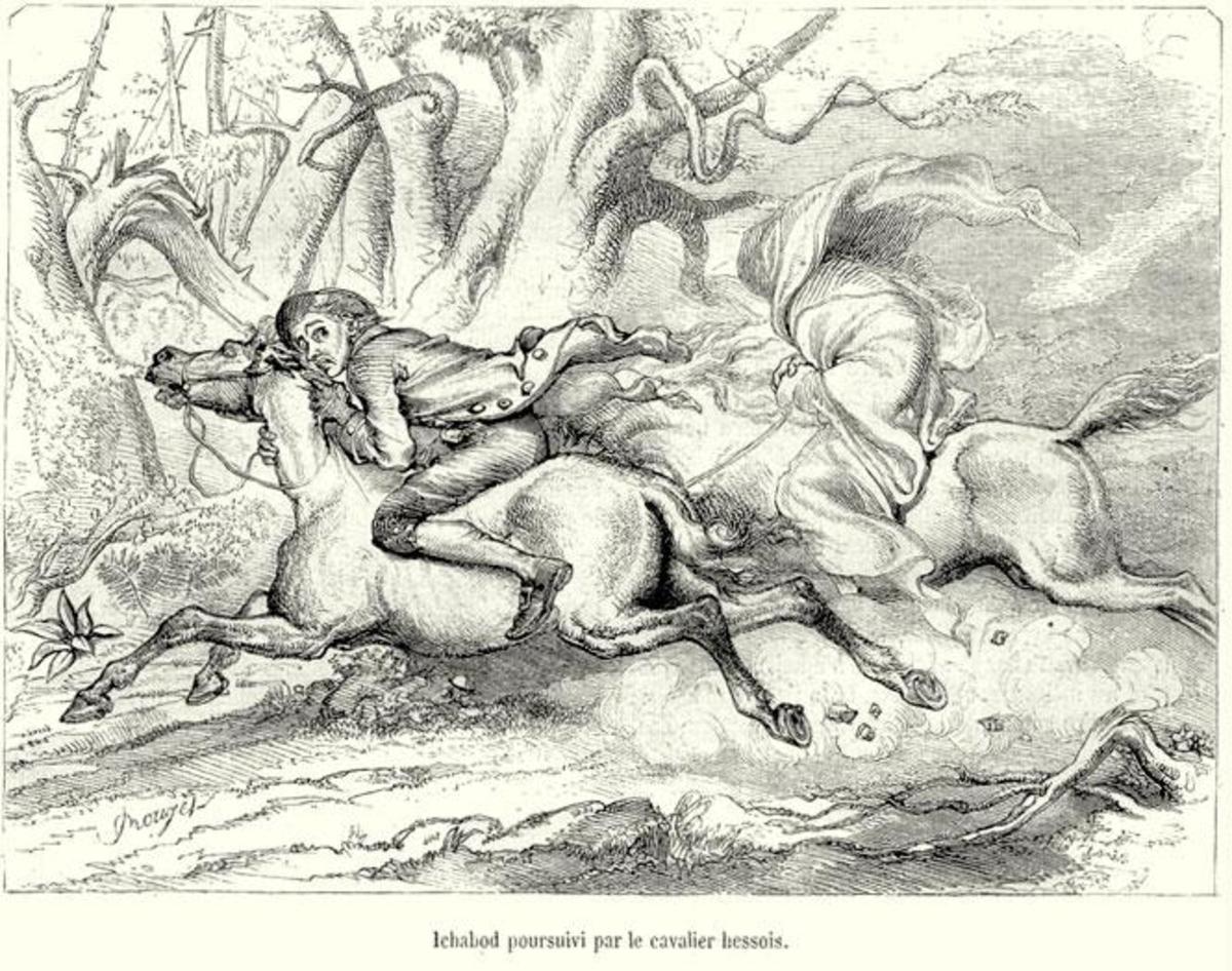 Ichabod pursued by the Headless Horseman by F.O.C. Darley