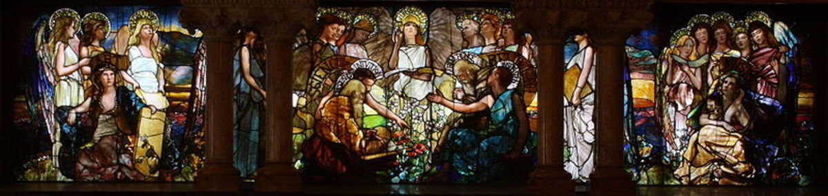 """EDUCATION""(1890), stained glass window by Louis Comfort Tiffany and Tiffany Studios, located in Linsly-Chittenden Hall at Yale University."