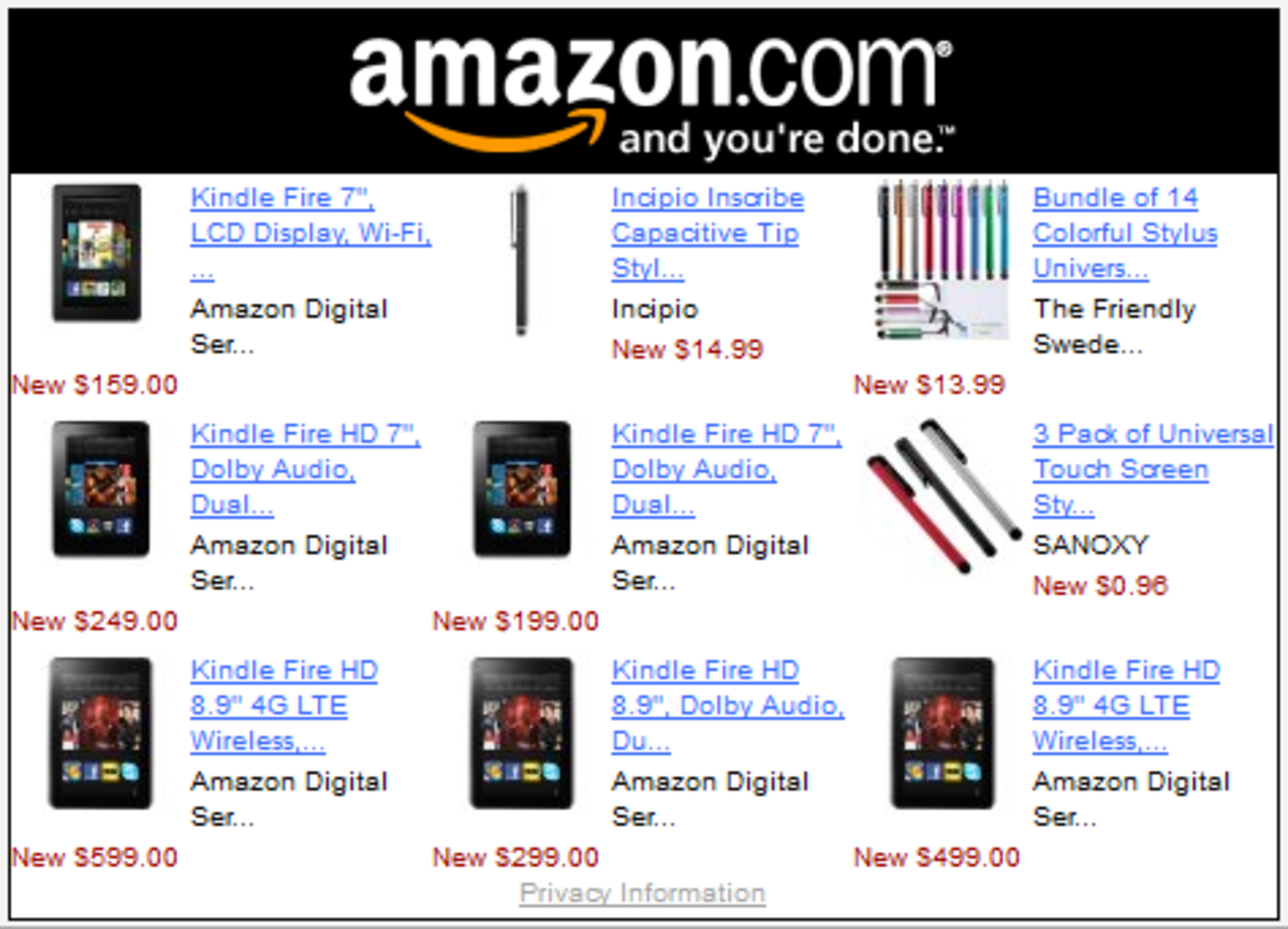 Amazon Product Widget Link for Kindle Fire Tablet