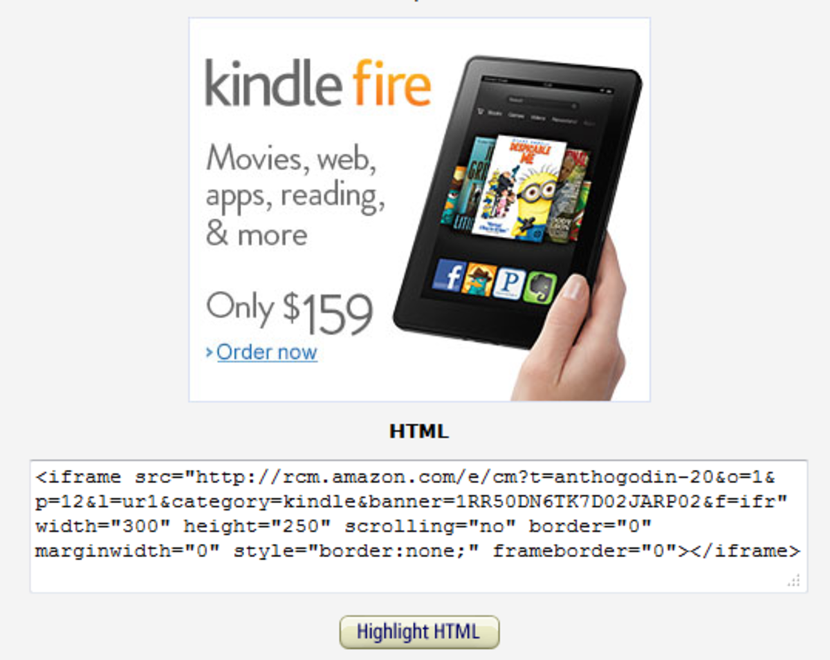 Amazon Product Banner Link for Amazon Kindle Fire Tablet