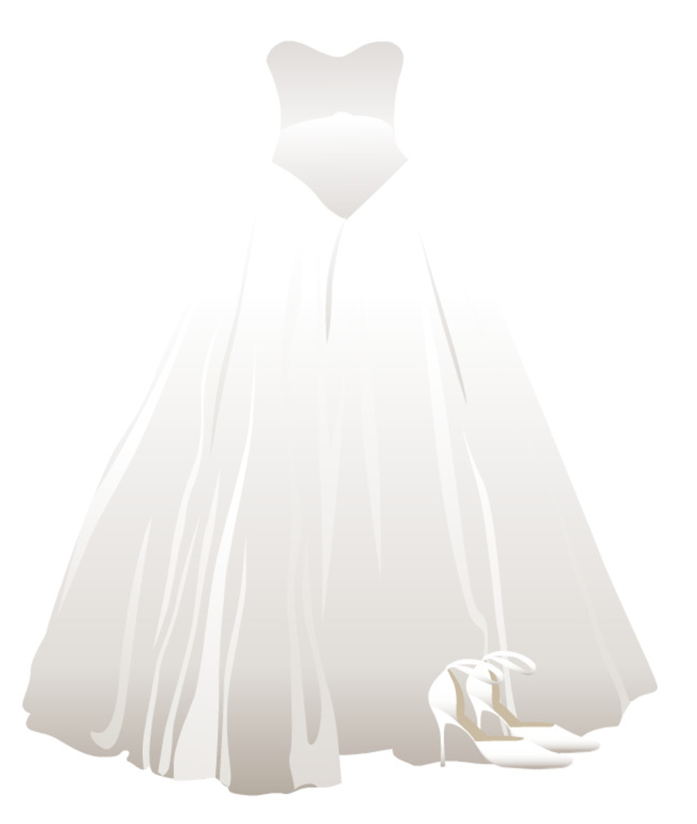 Free Quinceaera dress and shoes clip art