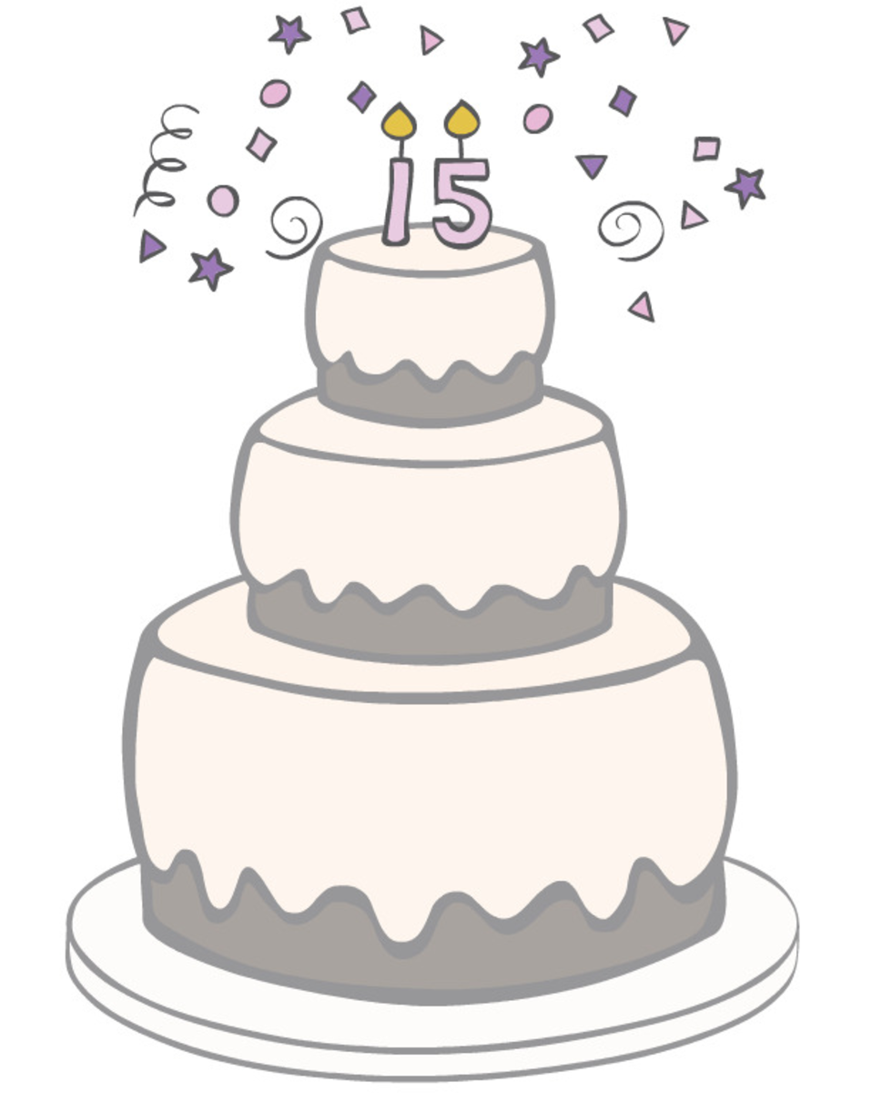 Free 15th birthday cake clipart