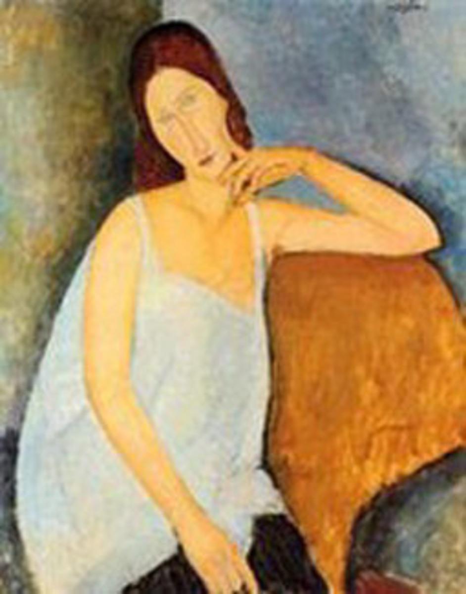 Jeanne Hebuterne raised arm