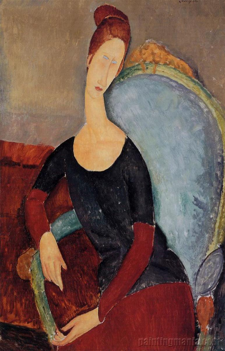 Jeanne Hebuterne seated