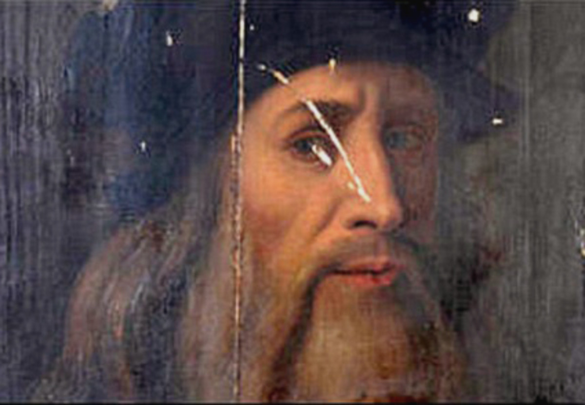 """THIS PORTRAIT, DISCOVERED IN 2009, IS BELIEVED TO BE A SELF-PORTRAIT BECAUSE THE WORDS """"PINXIT MEA"""" ARE WRITTEN ON THE BACK; THE ARTIST IS AS YET, UNCONFIRMED."""