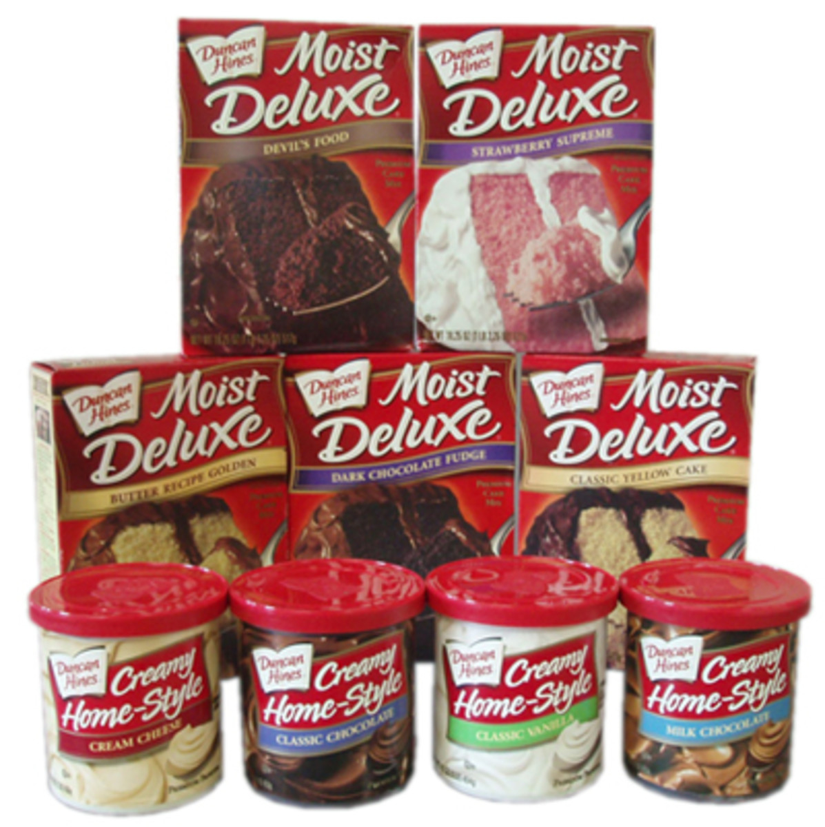 Store-bought cake mixes and frosting
