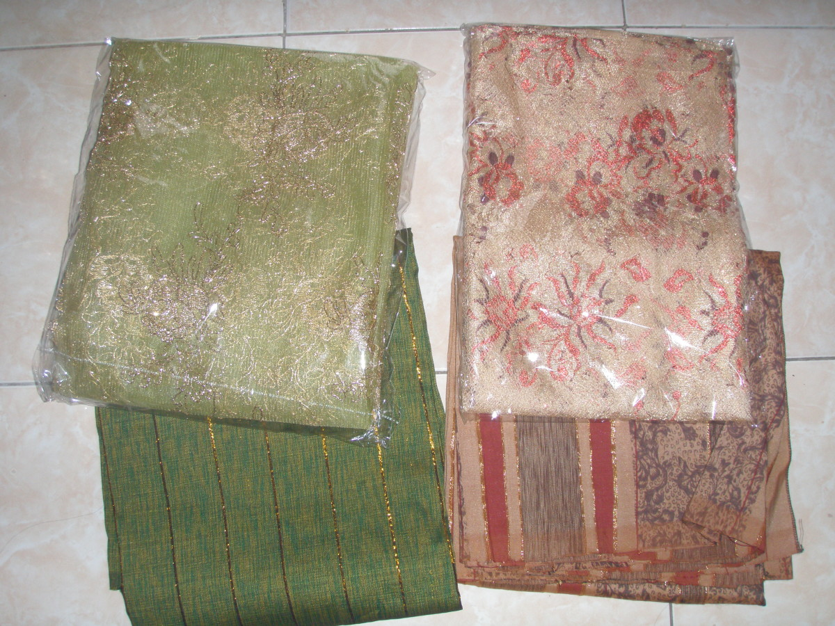 Material of Kebaya. Organdi, broccade and traditional fabric