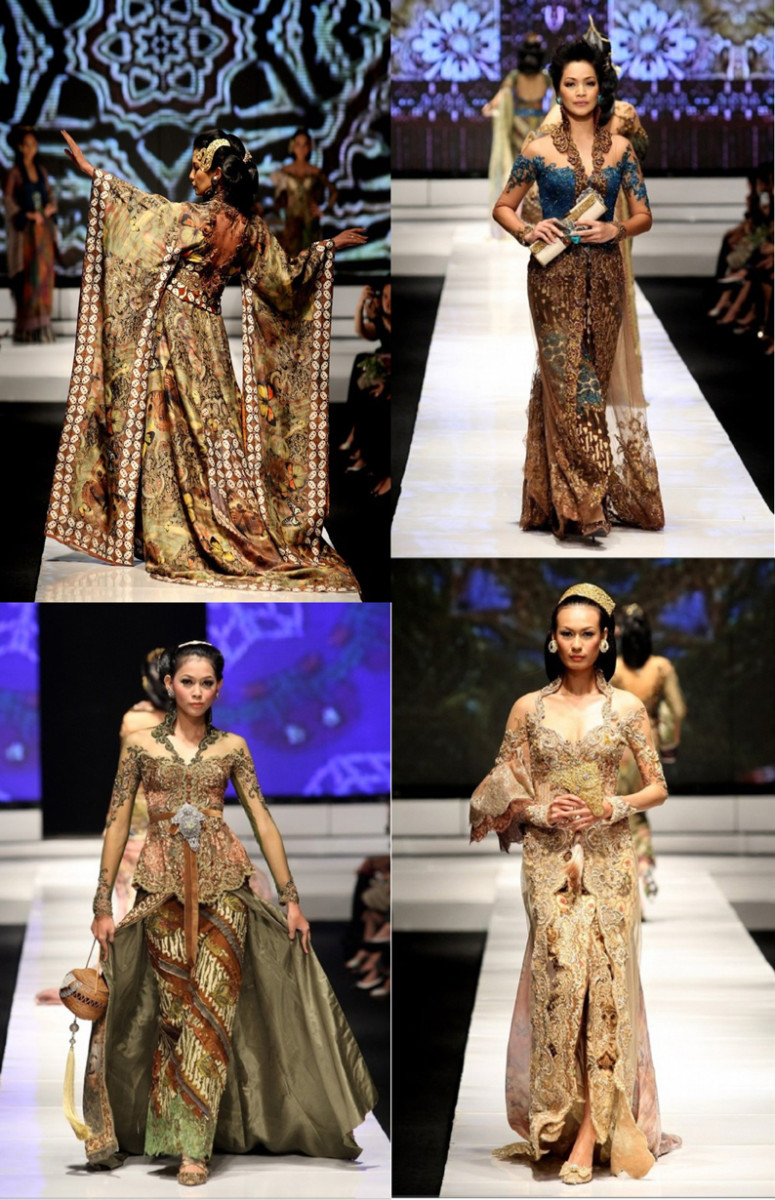 The example of Kebaya Haute Couture in fashion runway. Usually wear at the wedding and another grand party