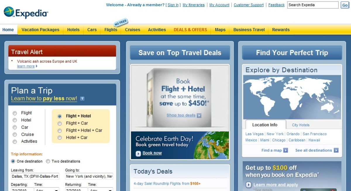 Expedia Website: www.expedia.com