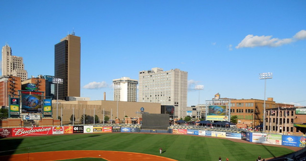 Toledo and the Mud Hens' baseball stadium.