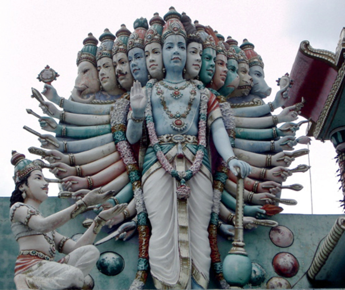 A statue depicting The true face of God as shown to Arjuna