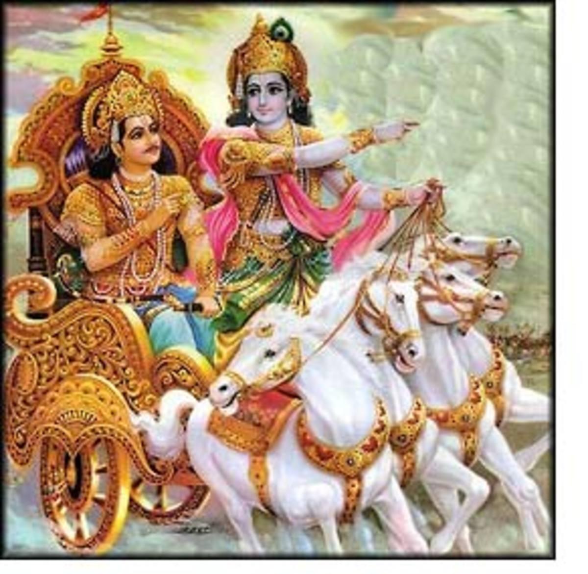Krishna and Arjuna head to the battlefield