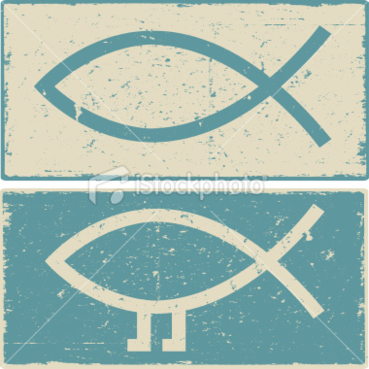 These two symbols, one a Christian symbol of a fish and the other, a modern adaptation to indicate Darwinian evolution.