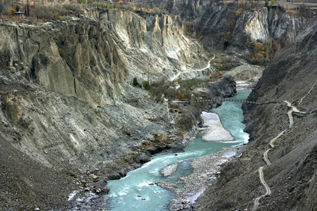 The Silk Route in the Karakoram range, near Hunza River