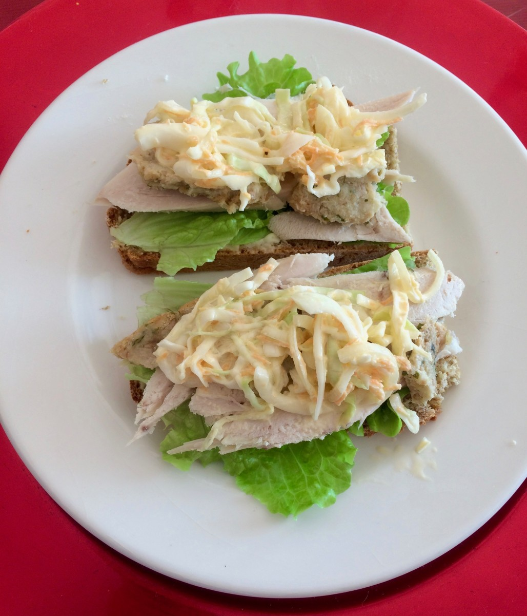 Turkey and Coleslaw Open Sandwich