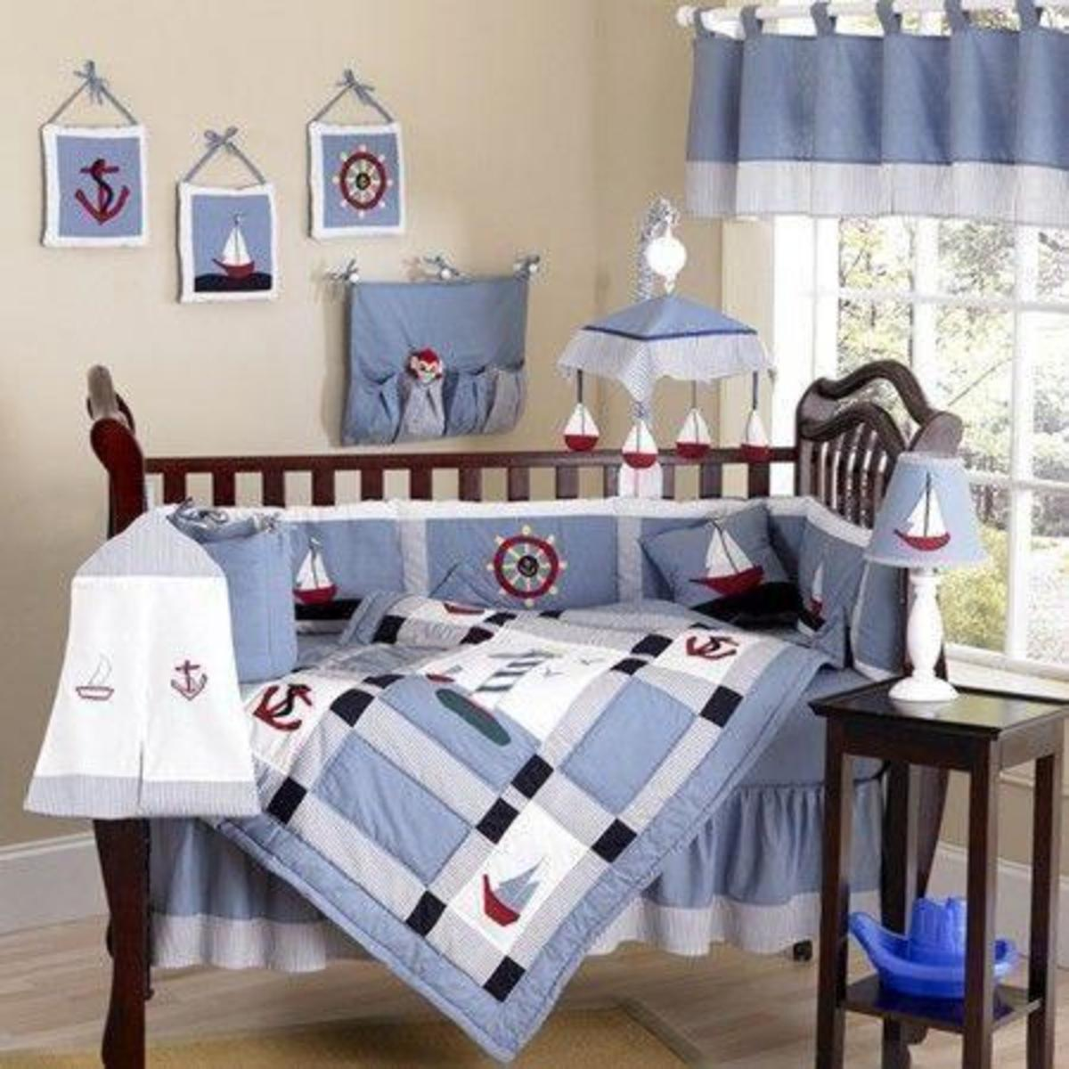 Baby Crib Bedding Set in Nautical Theme