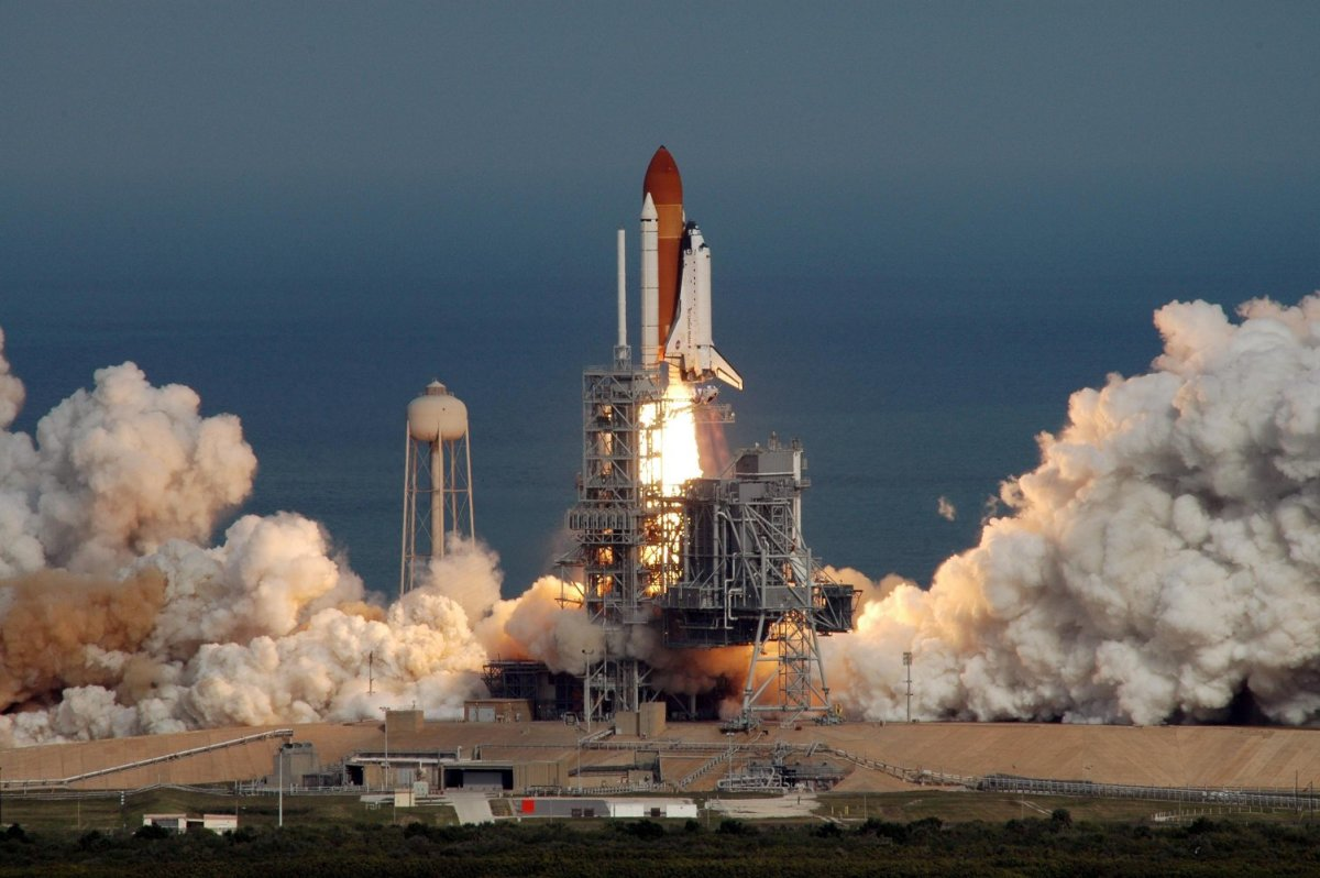 The Space Shuttle is launched into orbit. Photo courtesy of NASA.