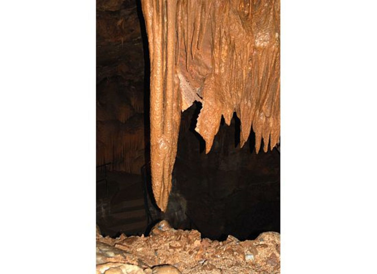 This stalagmite and stalctite are about 200 years away from meeting