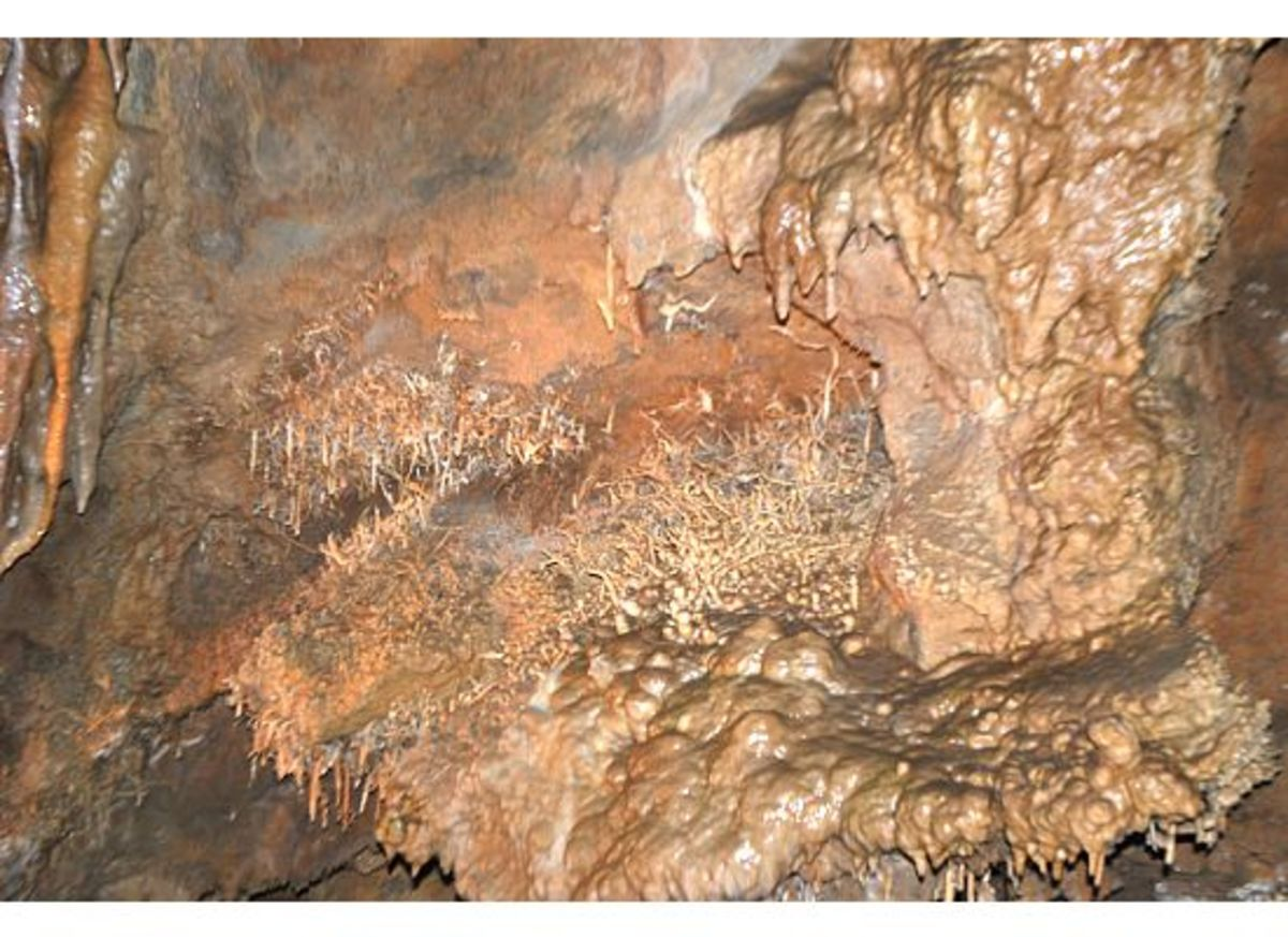 Bubbling and splashing water inside the caverns creates lovely formations