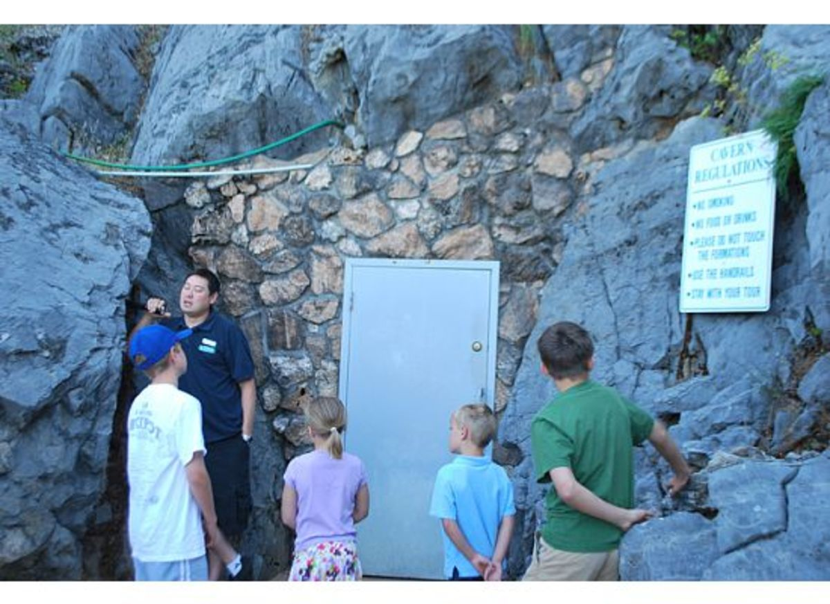 About to enter the door to the Lake Shasta caverns