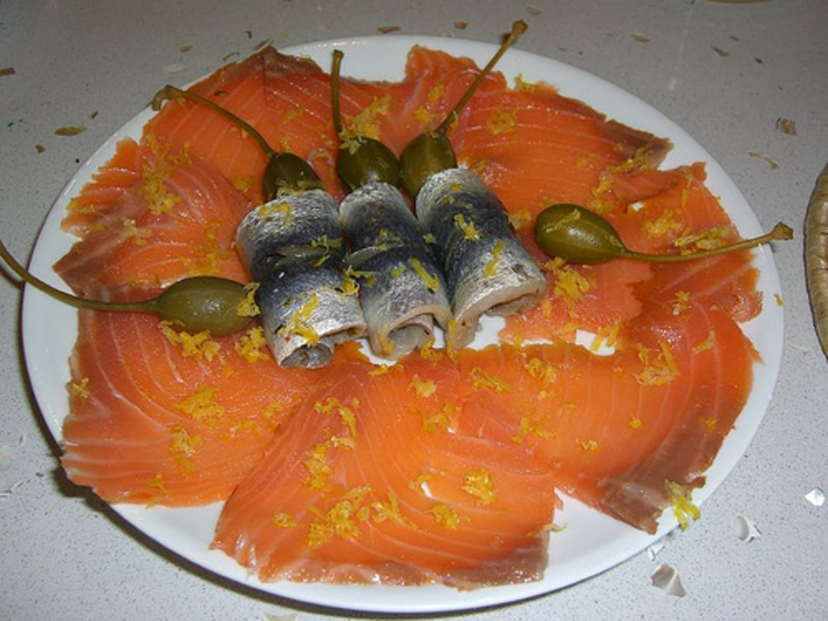 Pickled herring and smoked salmon