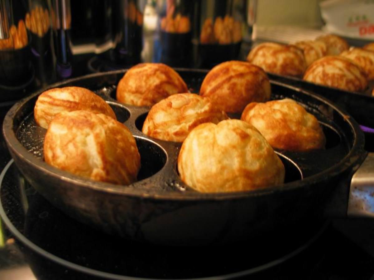 Ebelskiver (stuffed pancakes)