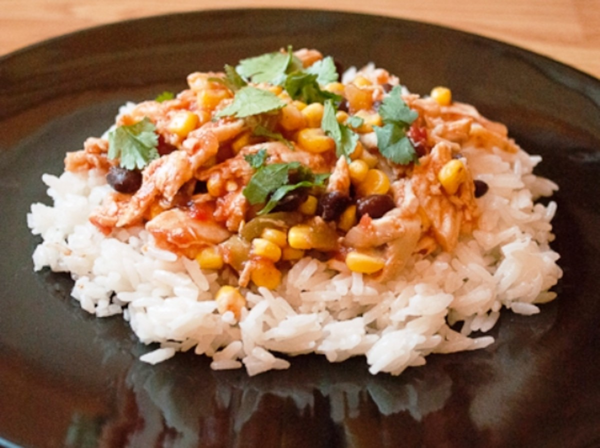 Chicken Salsa with Corn and Black Beans over rice