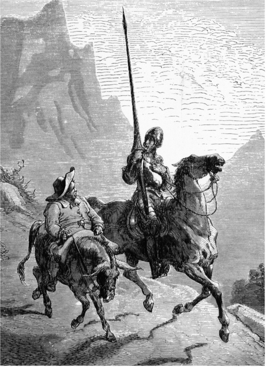 Don Quixote the Knight and Sancho Panza his trusty Squire
