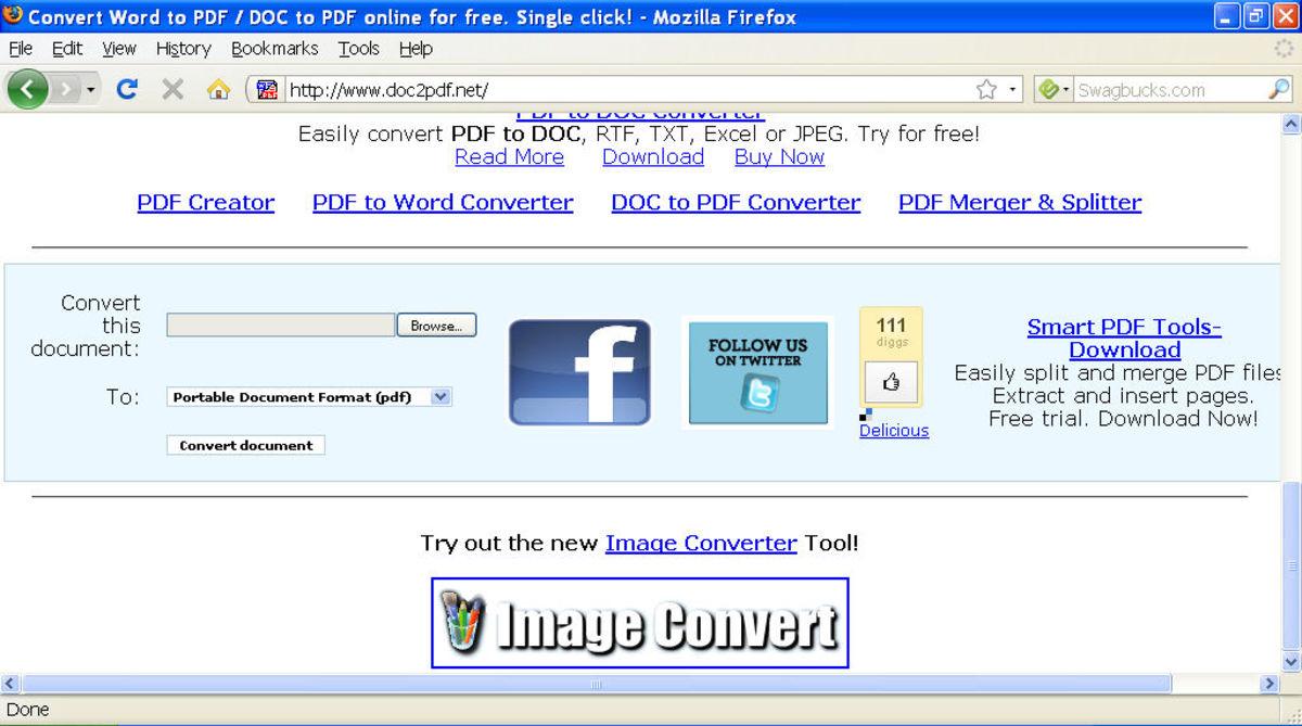 Scroll to the bottom of the screen to find the free DOC to PDF converter tool.