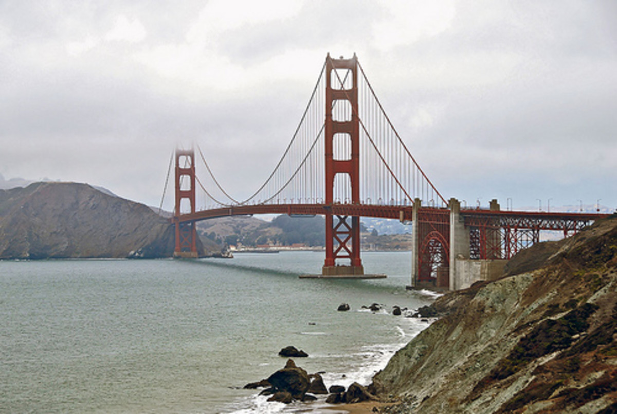 The Golden Gate Suspension Bridge.