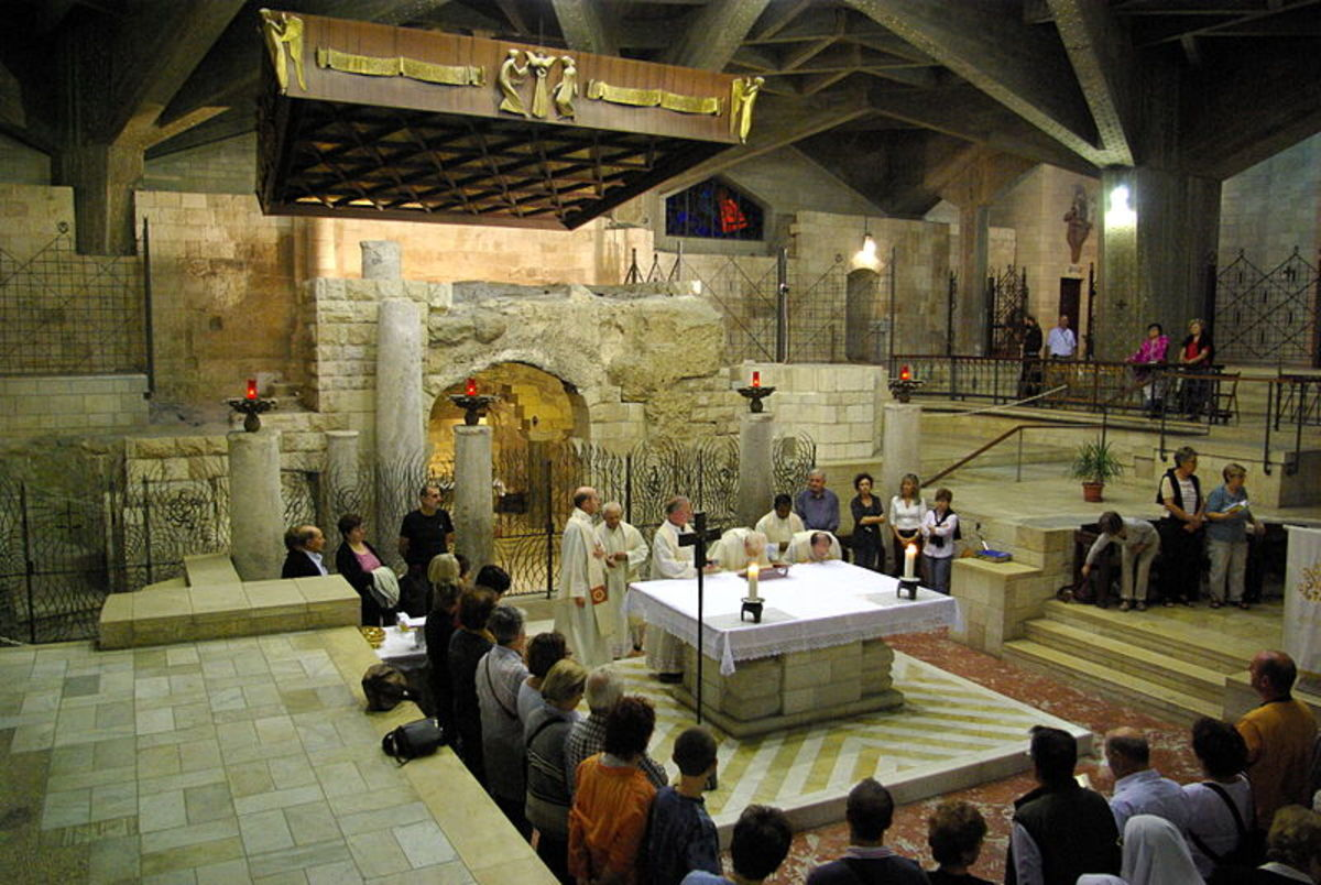 Catholic Mass conducted in the very spot Roman Catholics believe the Annunciation took place--the Grotto of the Annunciation beneath the church.