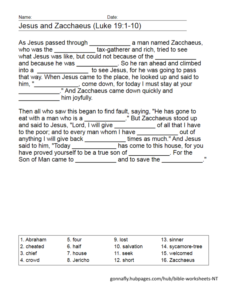 Jesus and Zacchaeus fill in the blanks