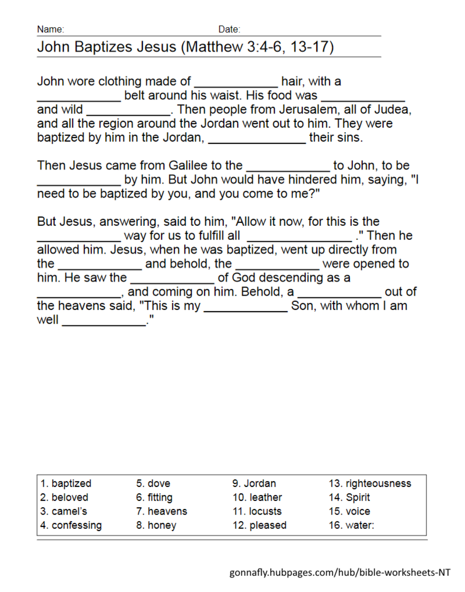 Jesus' baptism fill in the blanks