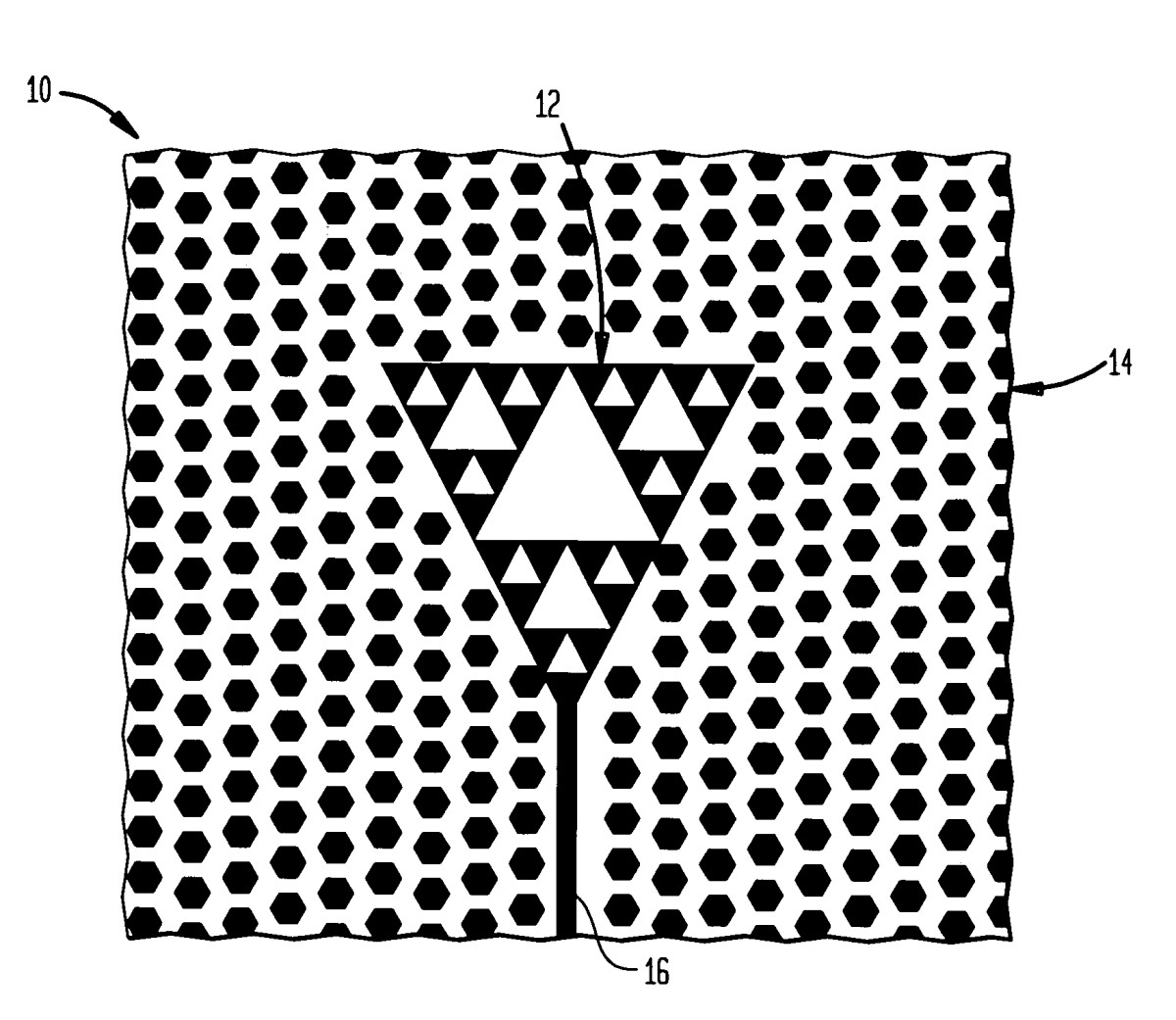 The Sierpinski triangle incorporated on a circuit board may look something like this.