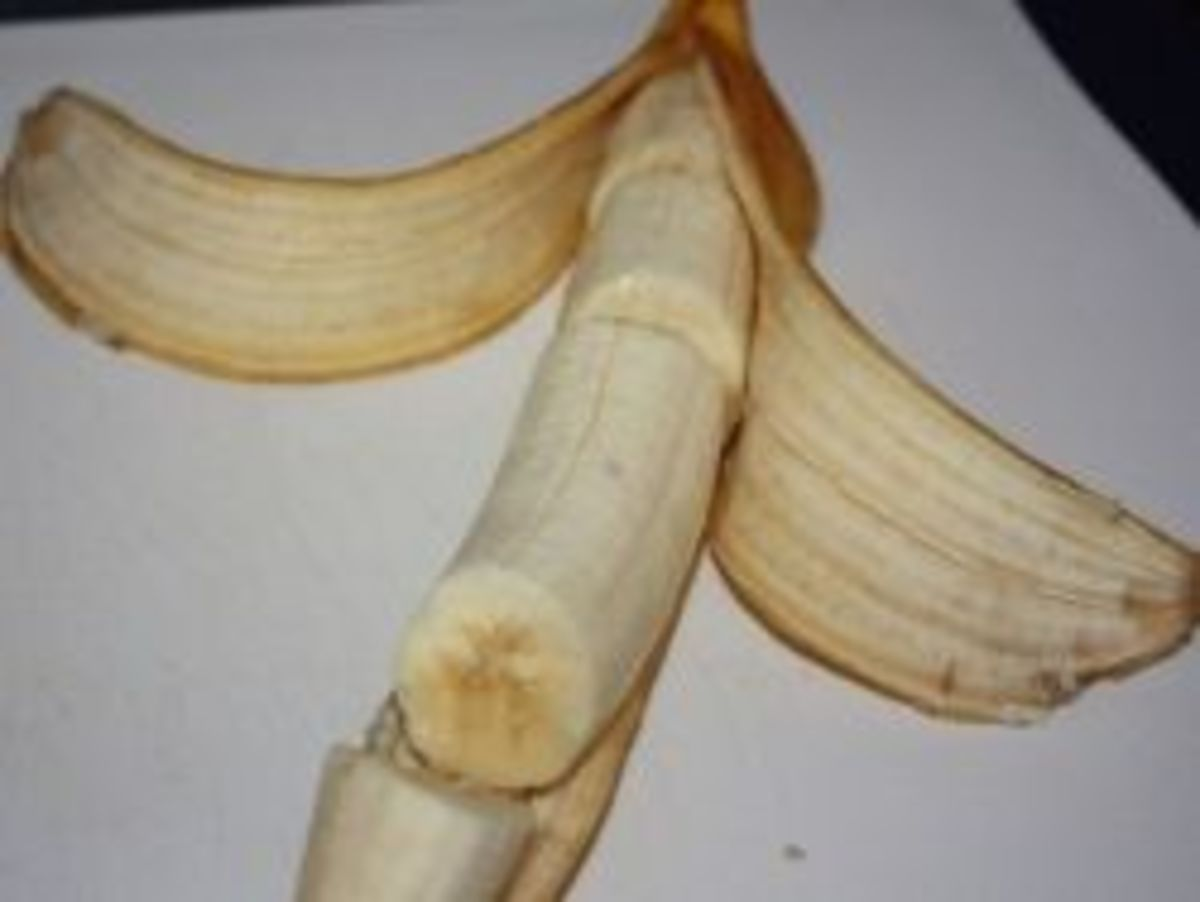 Banana Magic - This banana was cut while the peel was still on it.