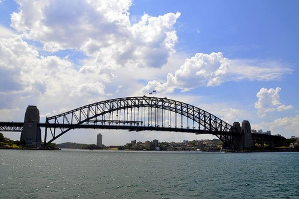 Sydney Harbour Bridge is and arch bridge made of steel.