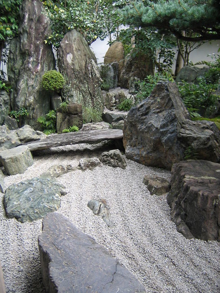 "A mountain, waterfall, and gravel ""river"" at  Daisen-in (1509–1513)"