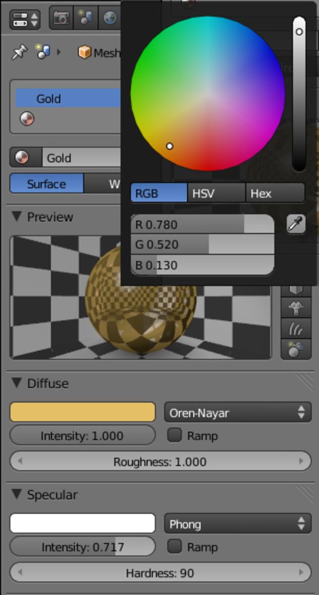 Gold Diffuse Color