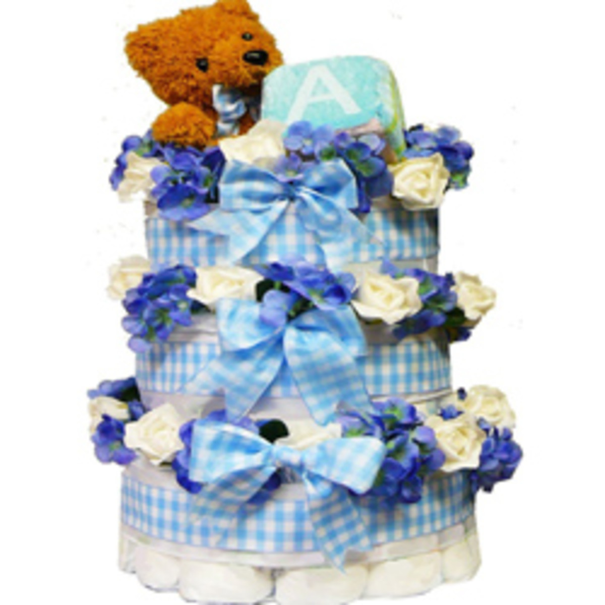 Diaper Cake Gift Tower with Teddy Bear