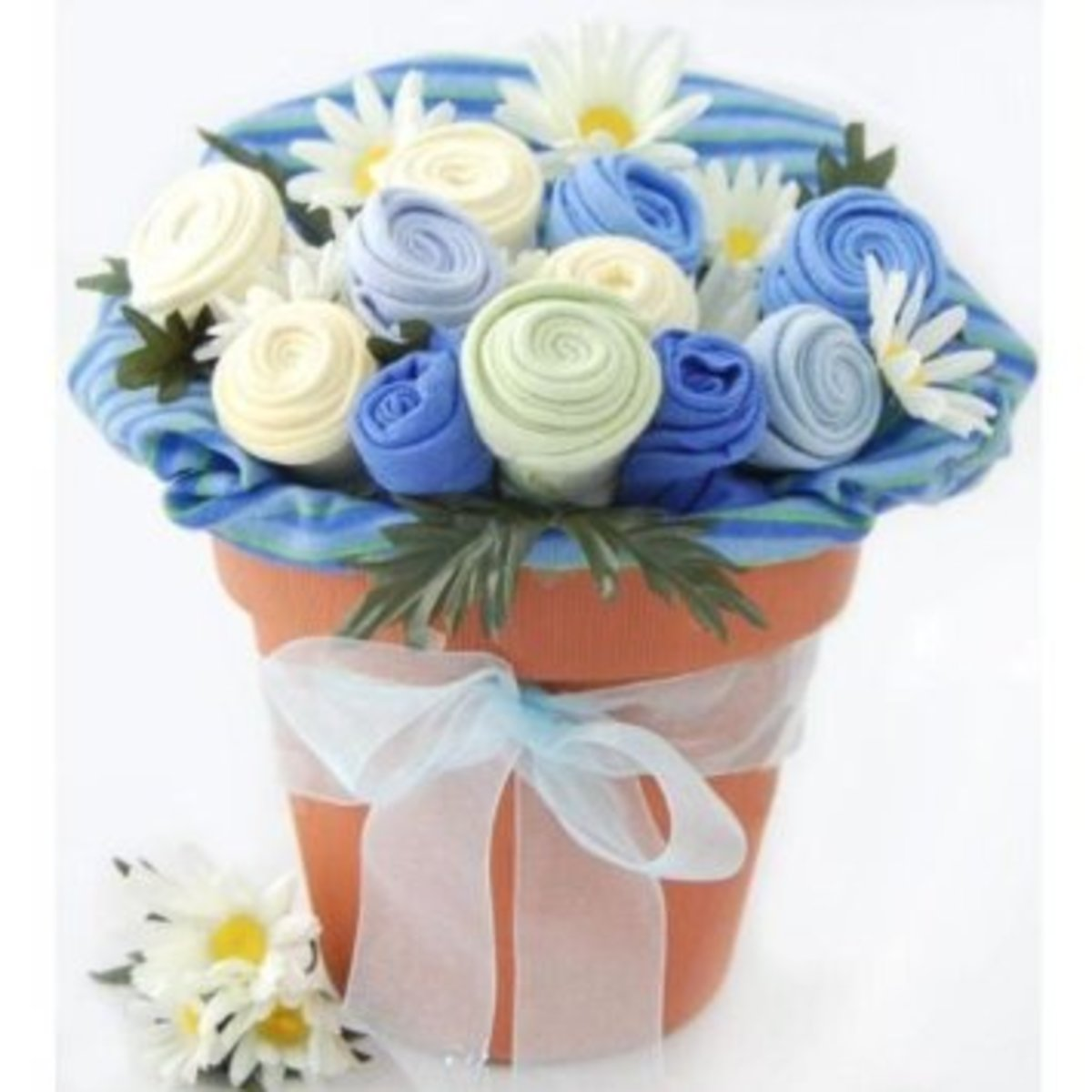 Baby Blossom Clothing Bouquet Gift. Boy 3-6 Months - Baby Shower Gift Basket