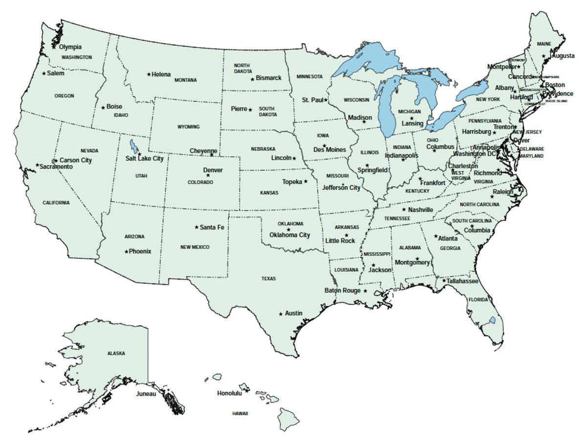 Us Capitols Map Globalinterco - Us map abbreviations and capitals