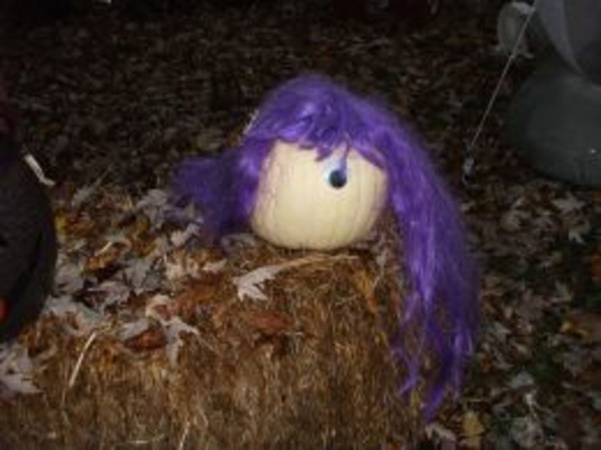 One-Eyed Purple People Eater - This pumpkin is sporting a purple hairdo.