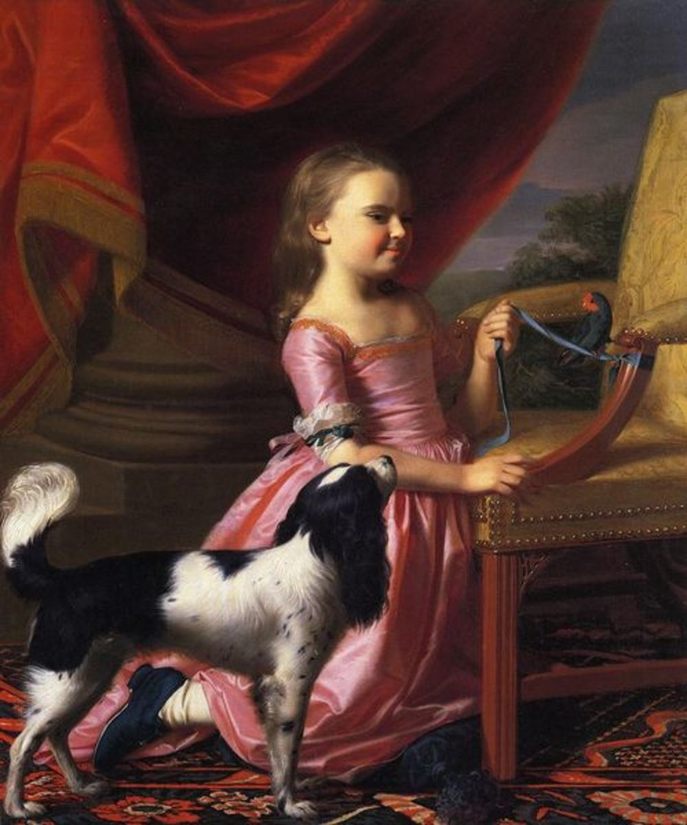 Young Lady with a bird and a dog,by John Singleton Copley. Currently owned by Toledo Museum of Art, Ohio. Image courtesy of Wiki Commons.
