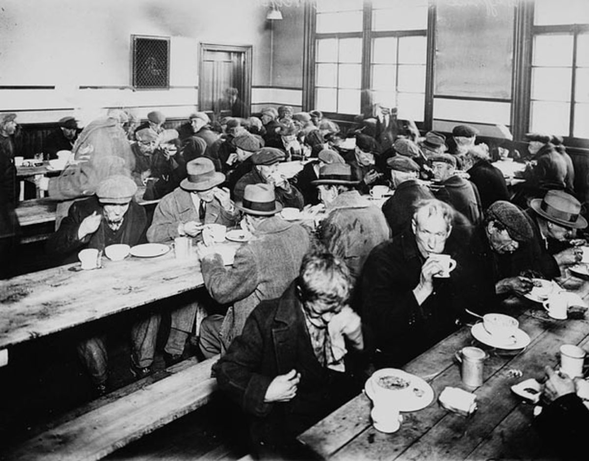 The USA had many soup kitchens in the poor years. like this one in Montreal in 1931.