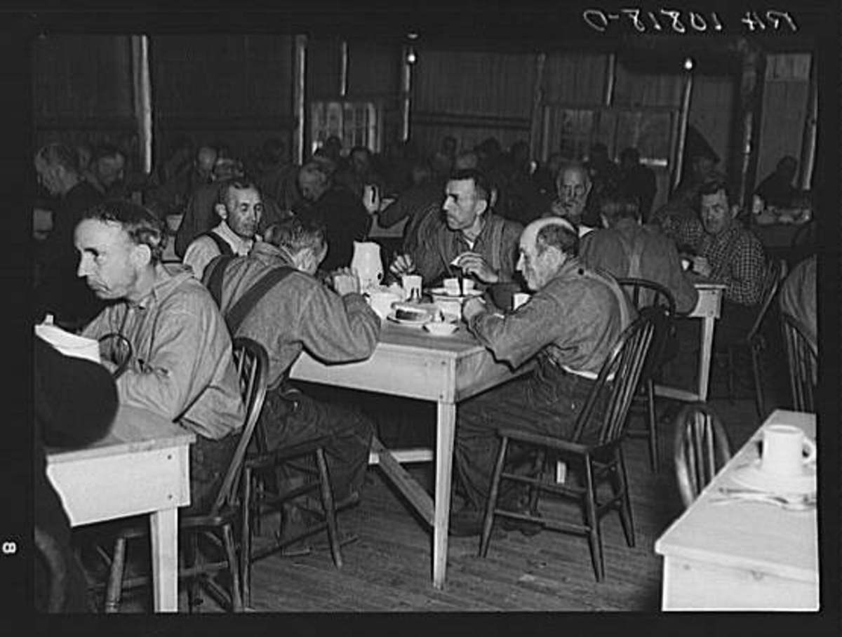 Men living in a Transient Camp in Michigan during in 1937.