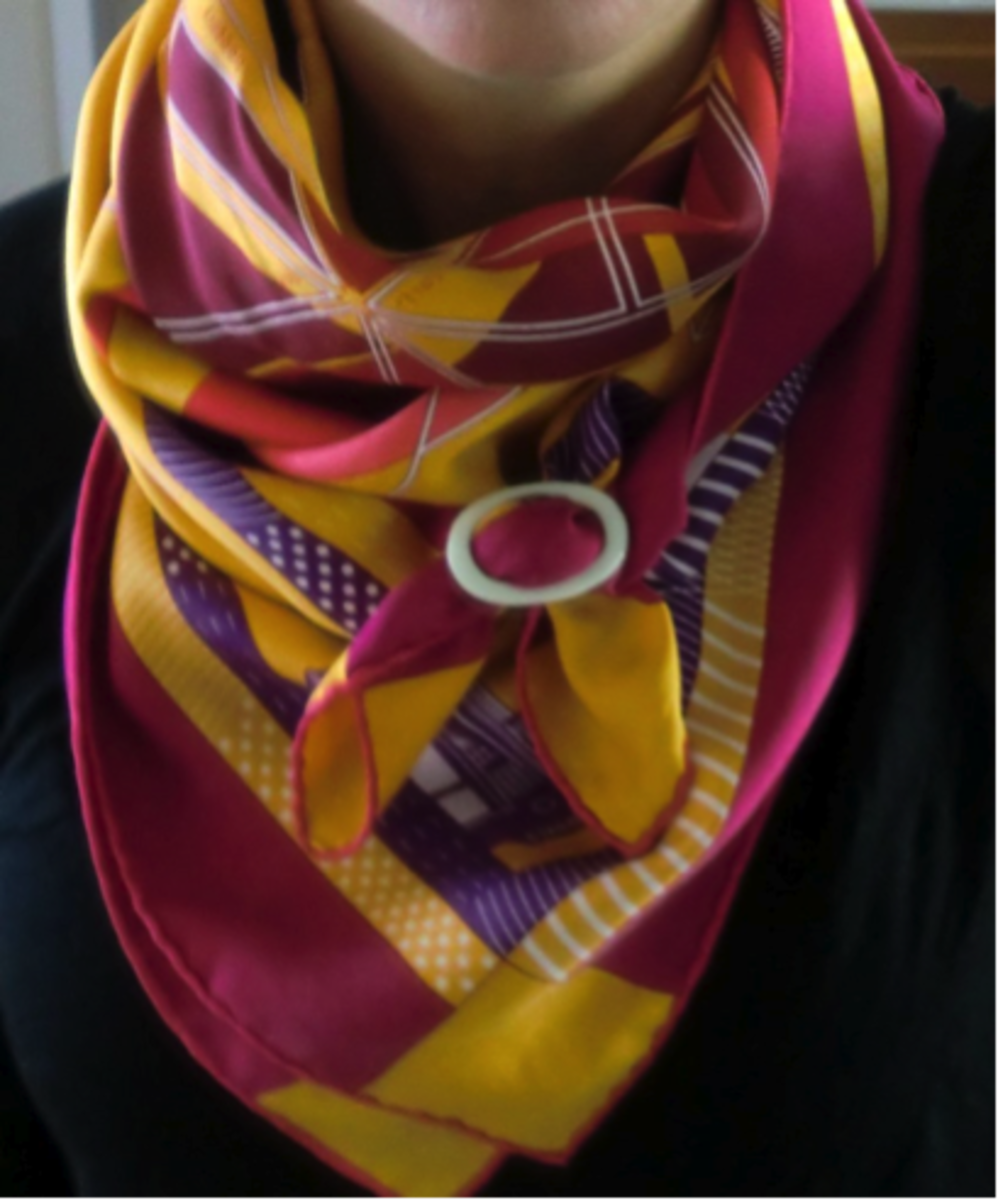 colorful silk scarf with a scarf ring
