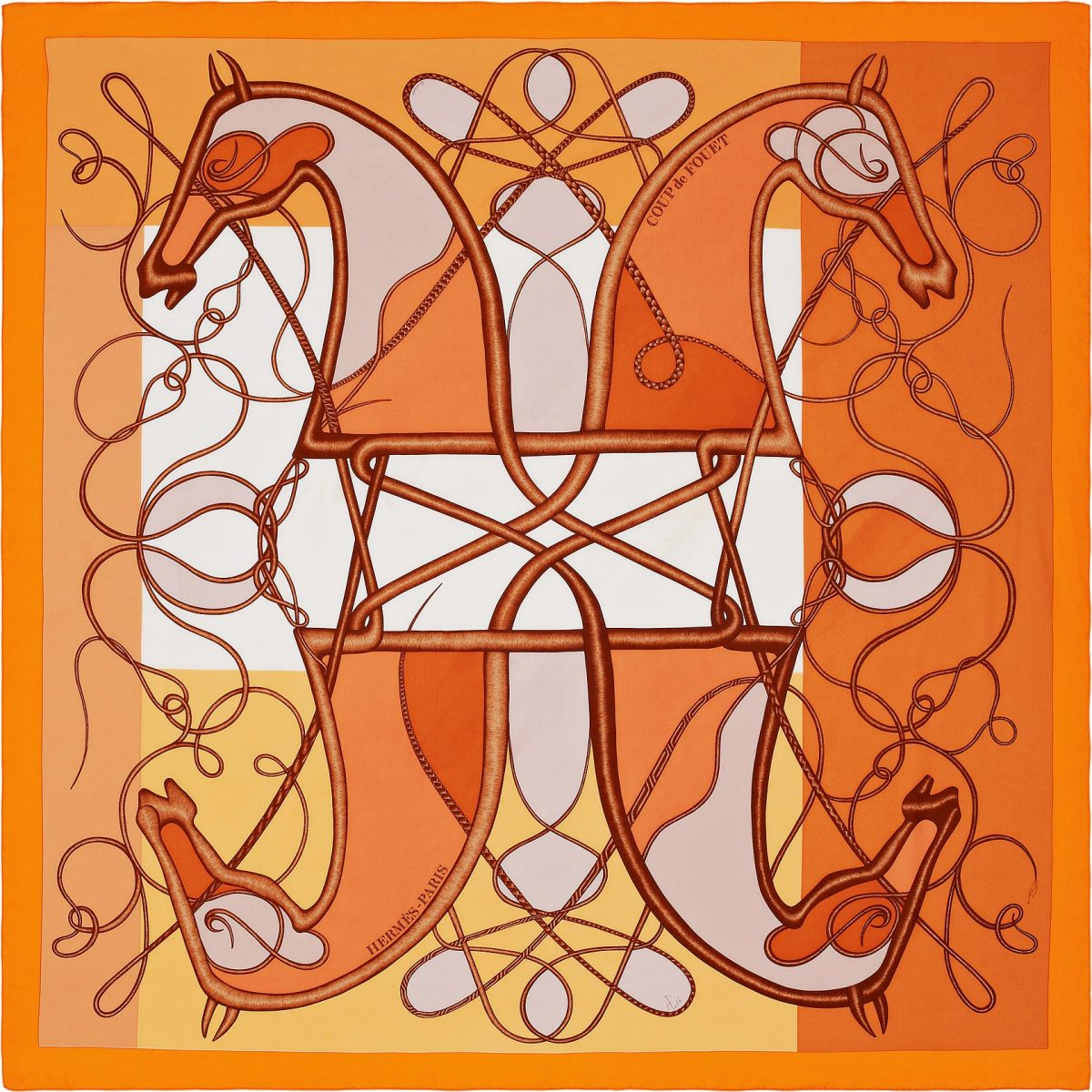 beautiful orange equestrian scarf by Hermes