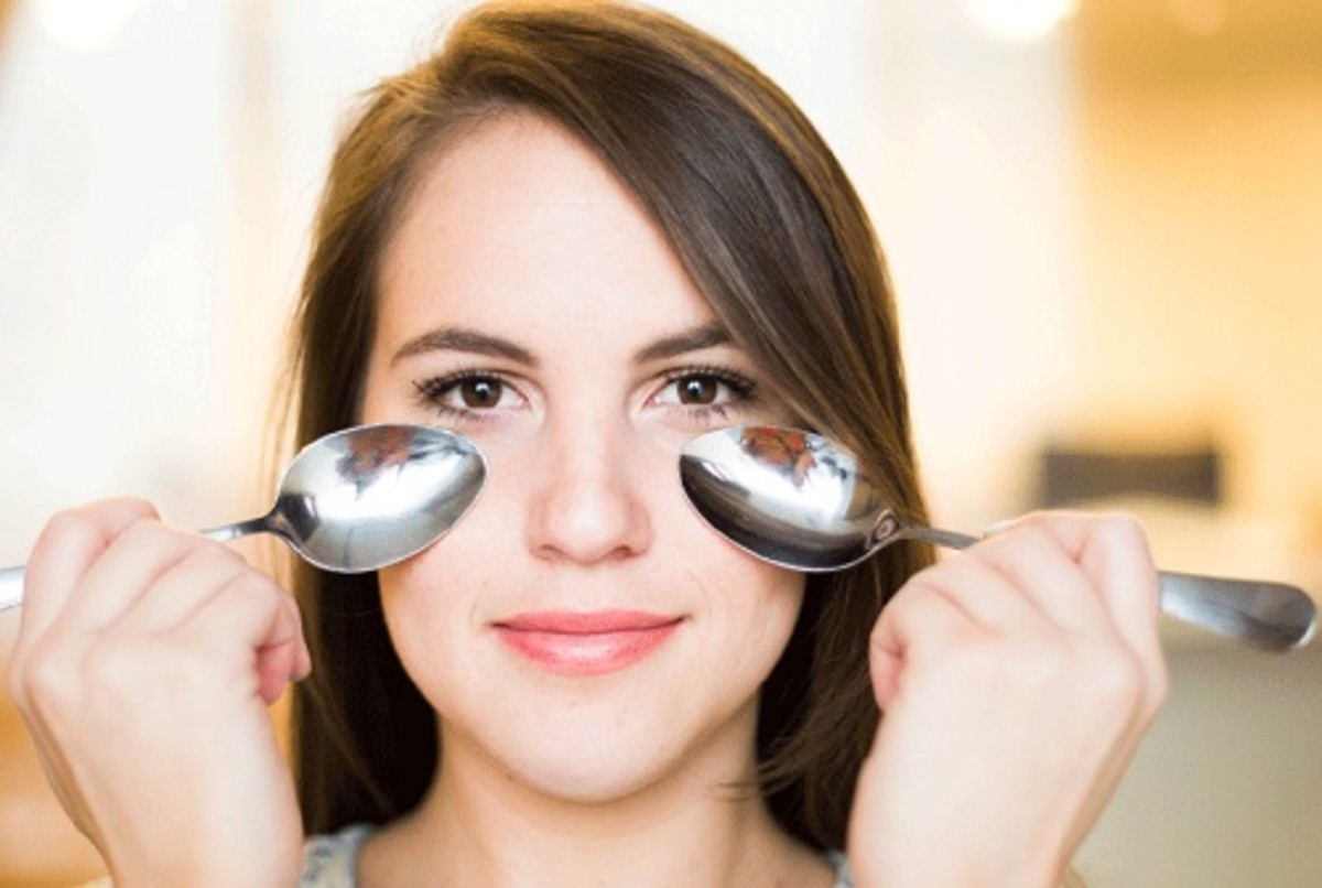 Do not use frozen spoons but cold and compress the back of the spoons over both eyes