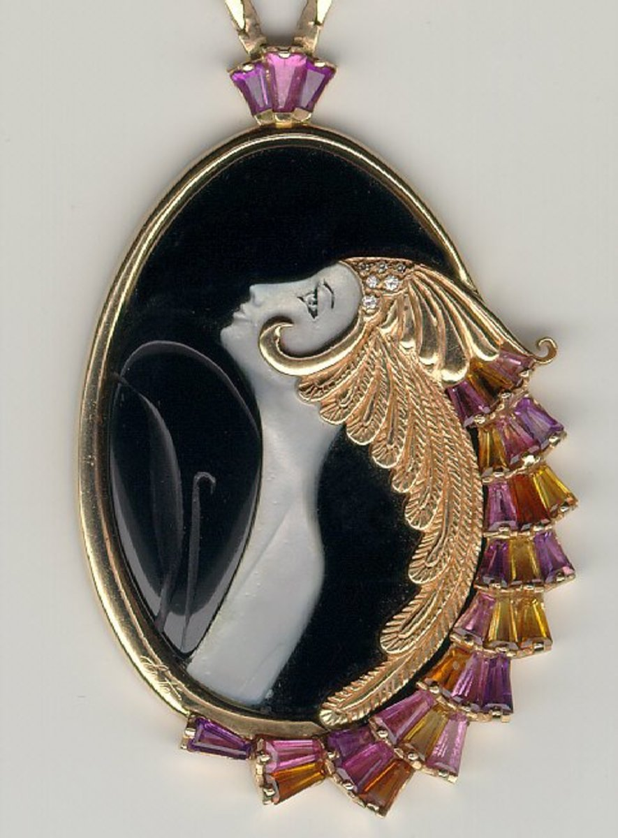 Erte Jewelry Woman Profile and Gold Hair