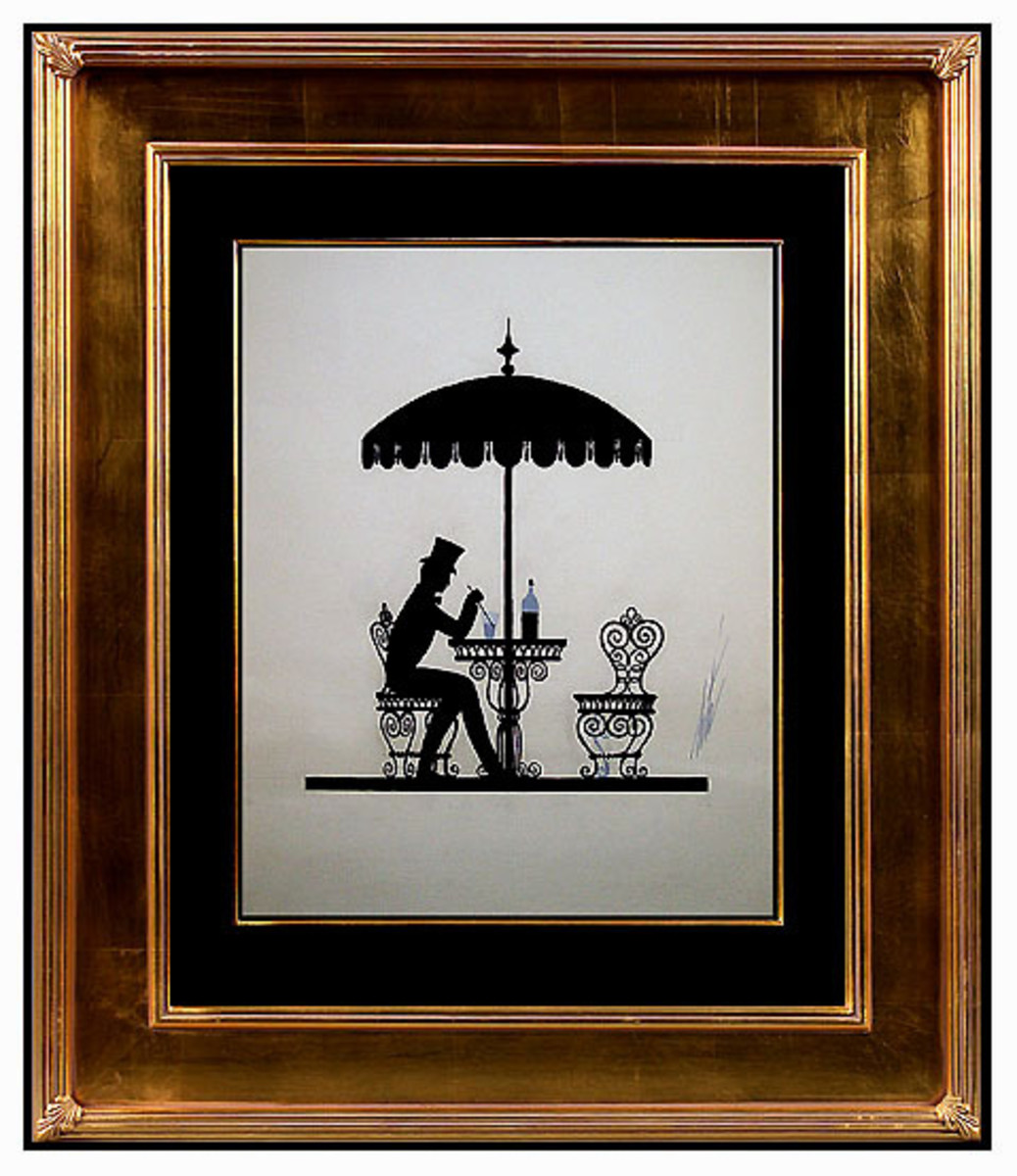 Erte Parisian Cafe Black and White Framed in Gold